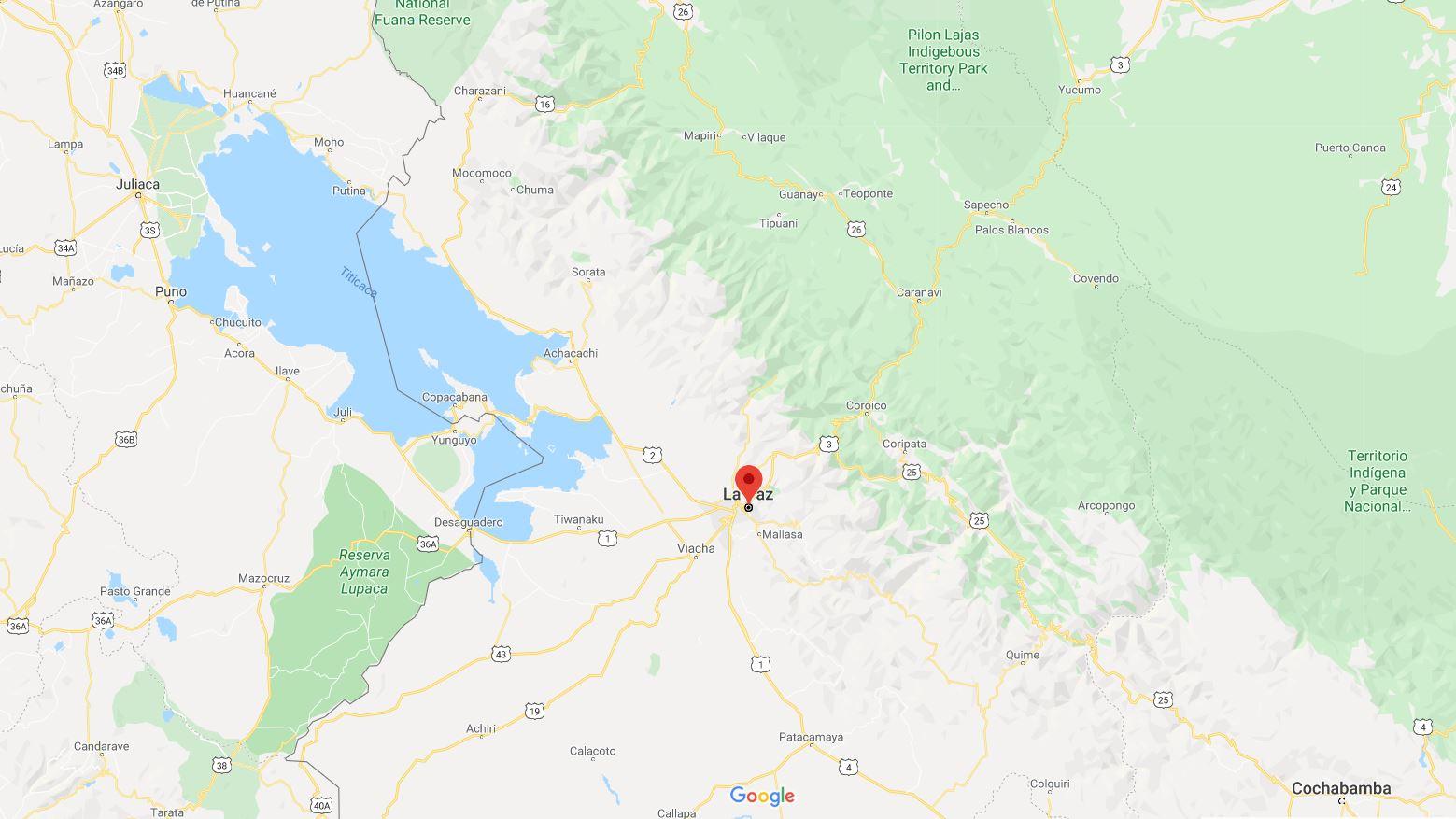 Mapa La Paz Bolivia cordillera real