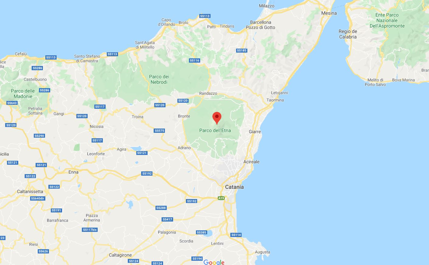 Mapa volcán etna sicilia