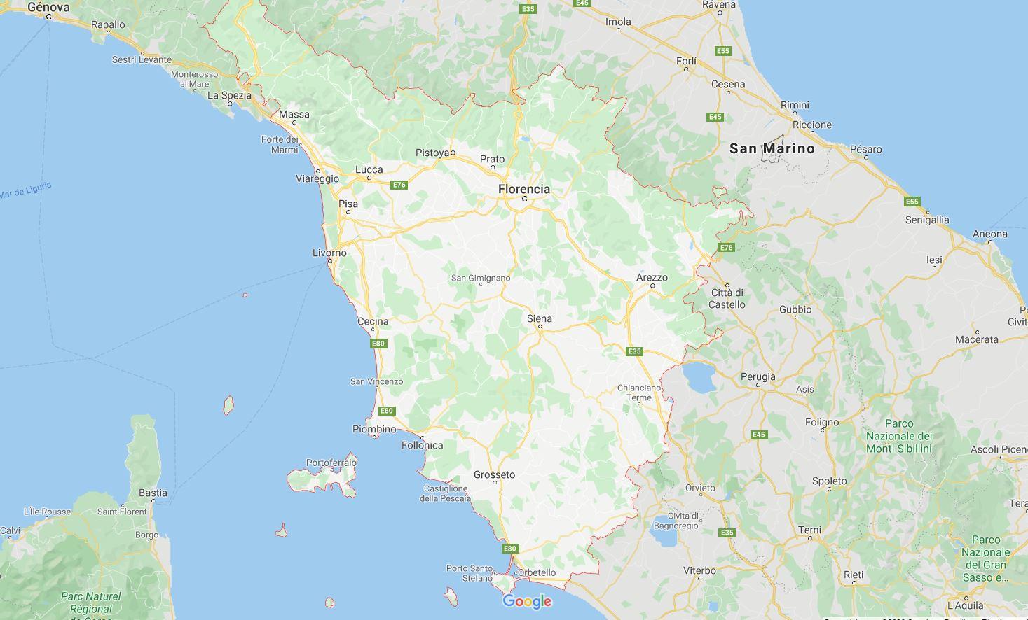 Mapa toscana Italia
