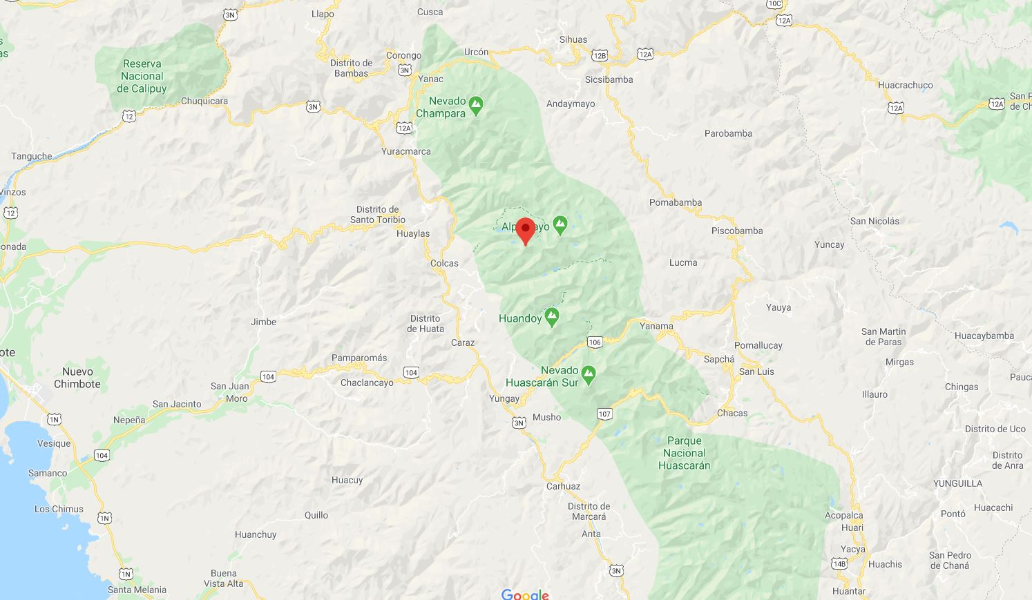 Mapa Santa Cruz Cordillera Blaca Perú