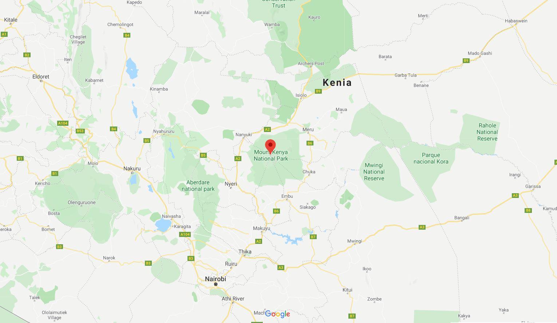 Mapa Monte Kenia