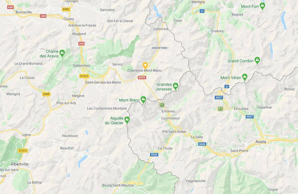 Mapa Pico Montblanc