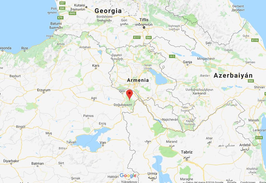 Mapa del Monte Ararat, Turquía