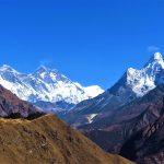 Región Everest. Vistas de izq a derecha_Nuptse 7864, Everest 8848m, Lhotse 8516m y Ama Dablam 6814m desde Khumjung 3800m