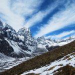 Región Everest. Vistas de los picos de Cho La Pass 5368m y Pheriche 4240m