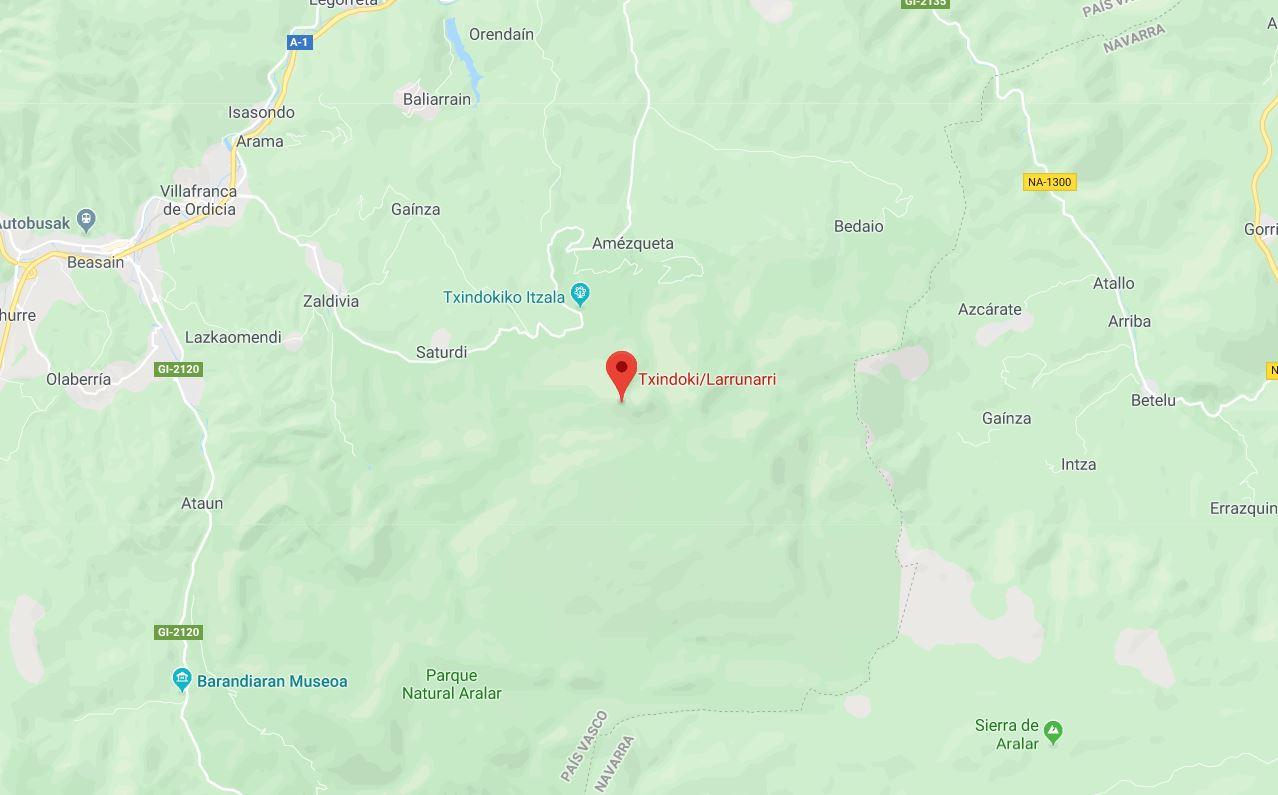Mapa Arista de Txindoki