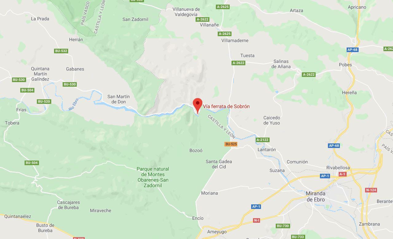 Mapa Vía Ferrata Sobrón