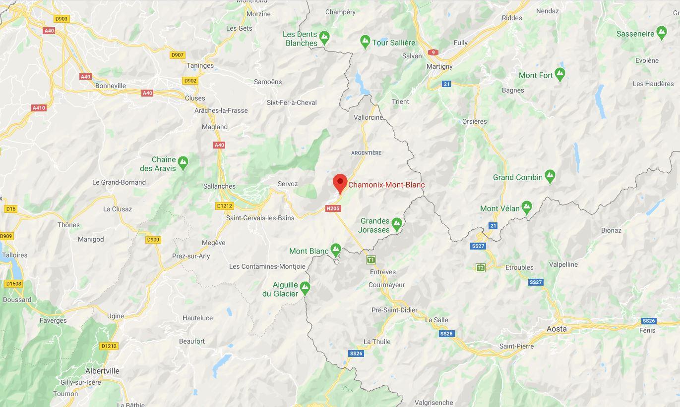 Mapa Chamonix Mont Blanc