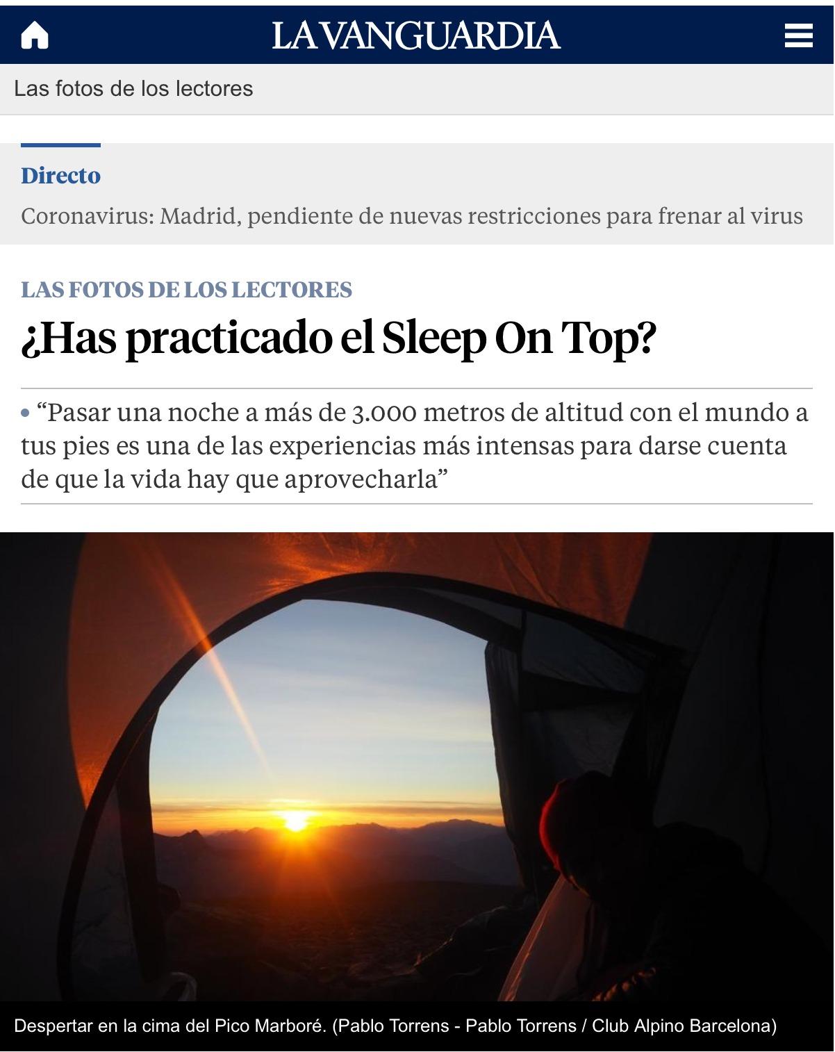 Noticia Sleep on Top. La Vanguardia